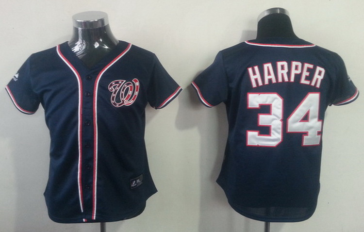 Wholesale Washington Nationals Womens Jerseys #34 Bryce Harper Blue Baseball Jersey Accept Retail And Mixed Orders