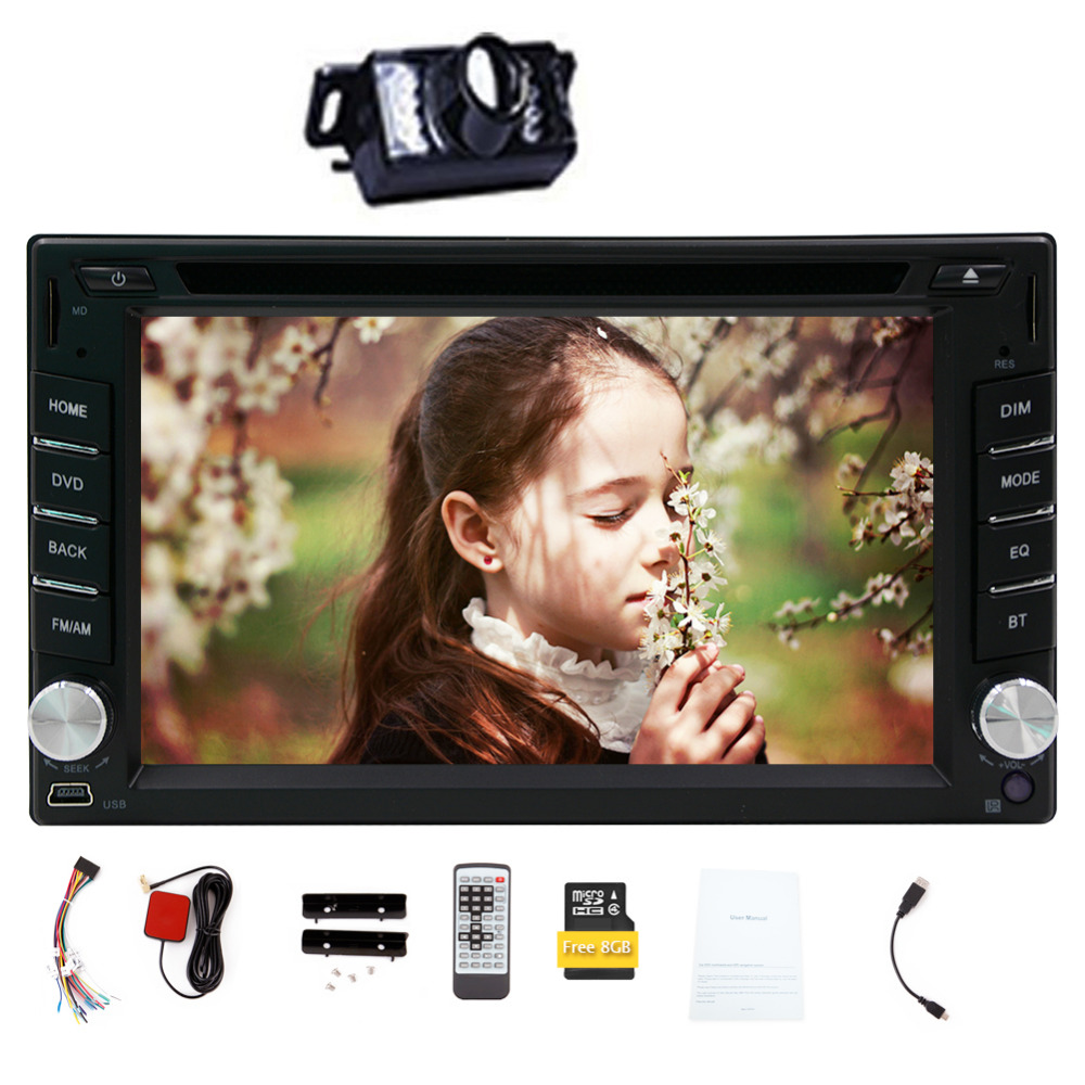 Free Rear Camera 6.2 Inch Touch Screen 2 Din Car DVD Player GPS Navigation Double Din Car PC Bluetooth Head Unit Video Music Pla(China (Mainland))