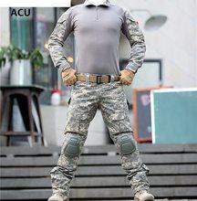 Армия военная форма камуфляж боевой костюм Airsoft войны игры Костюмы рубашка + брюки локоть наколенники(China)