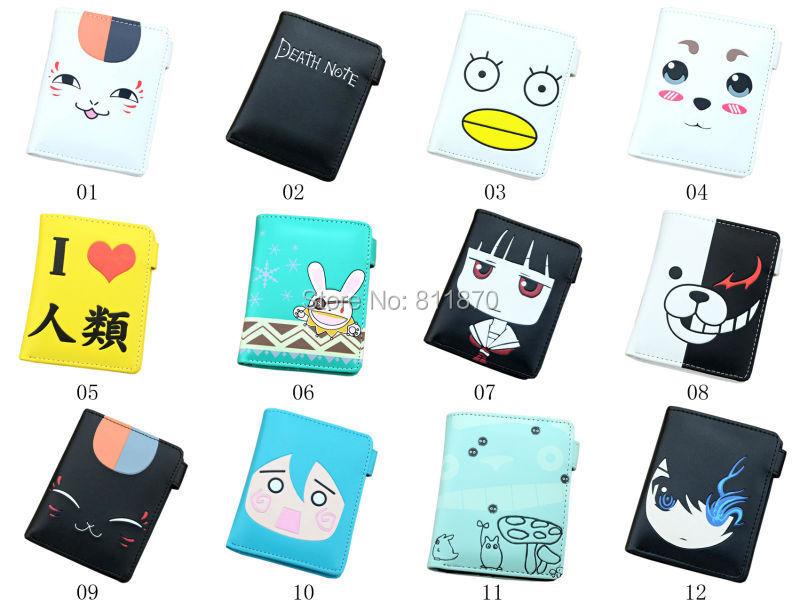 Cosplay Anime Death Note Gintama Hatsune Miku ETC. Cartoon Characters Logo Hi-Q PU Leather Wallets Coin Purse Free Shipping(China (Mainland))
