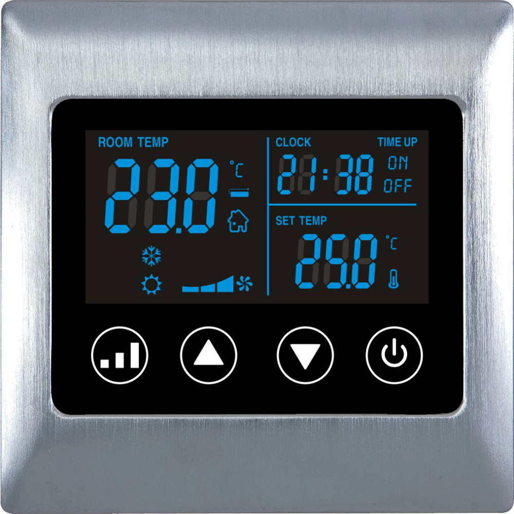 Fangle Touch Screen 2 pipes lcd button hotel room Digital Thermostat  for Metal Frame <br><br>Aliexpress