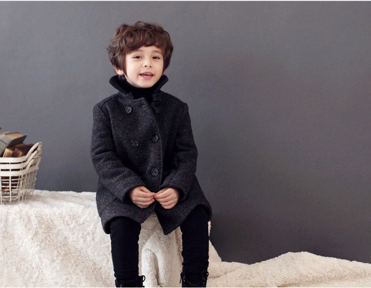 2017 Newest British Style Boys warm Winter Coat Fashion Double Breasted Kids Wool Coats Boys Jacket Children Outerwear