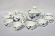 10pcs smart China Tea Set, Pottery Teaset,Blue Peony,A3TM18, Free Shipping