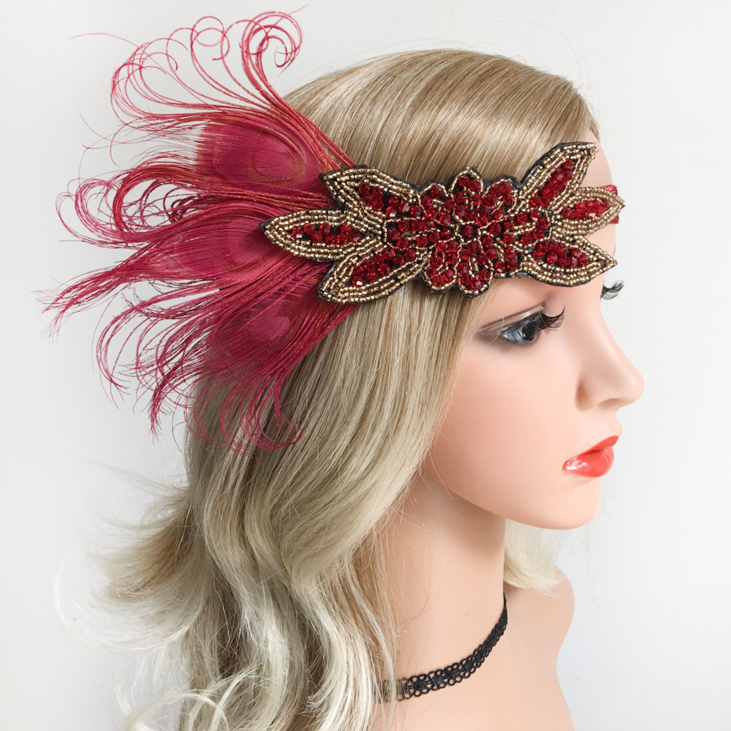 New red sequined 1920/'s Great Gatsby look flapper head piece head band costumes