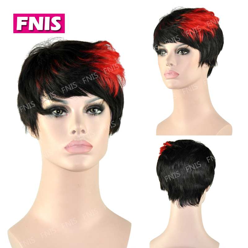 Black Red short wig 2015 New Fashion Full-Volume Curls Heat-resistant Fiber Medium None Lace hair Wig fast Shipping(China (Mainland))