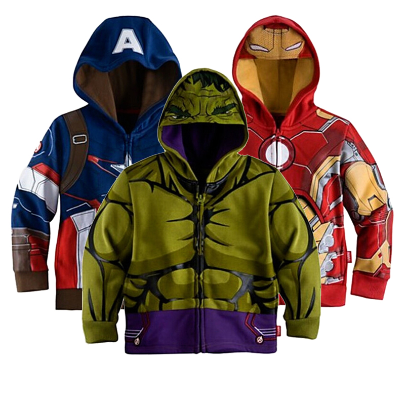2016 Fashion And High Quality Boys Kids The Avengers Coustome Hoodie Jacket 90 125cm For Winter