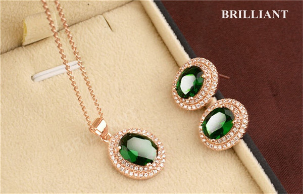 BS221 Elegant Emerald Green CZ 18K Rose Gold Plated Fashion Jewelry Sets Austria Crystals Necklace & Earrings - Brilliant store