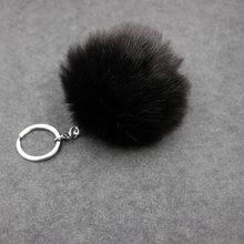 8 cm Pompom Fofo Bola de Pêlo de Coelho Mulheres Faux Rabbit Fur Pom Pom Keychain do Anel Chave de Cadeia Saco Encantos Bugiganga presente da Jóia do casamento(China)