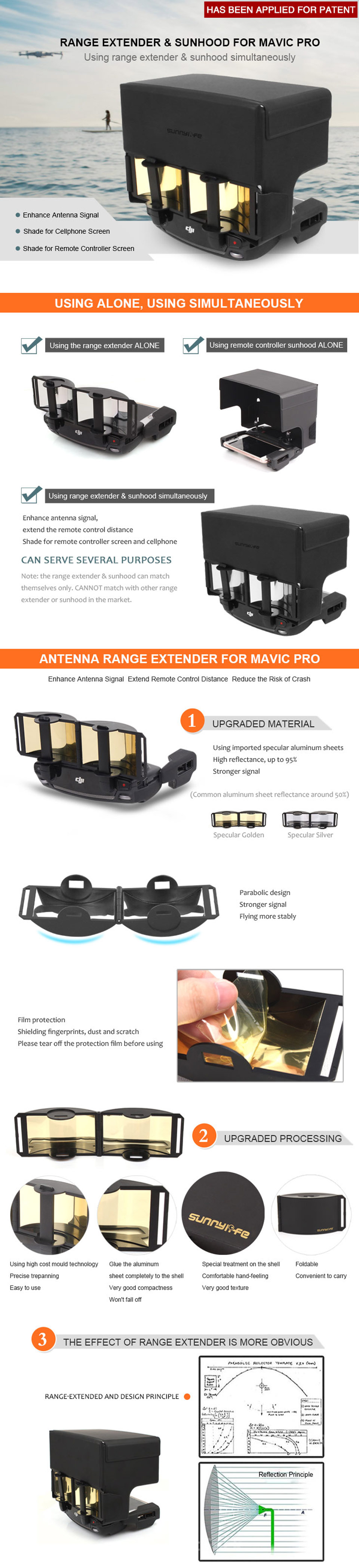 Antenna Range Extender and Remote Controller Sunhood Sunshade Simultaneous Usage for DJI MAVIC PRO and Spark
