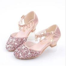 ילדי נסיכת סנדלי ילדי בנות חתונה נעלי עקבים גבוהים שמלת נעלי Bowtie זהב עור מפוצל נעלי בנות כסף ורוד(China)