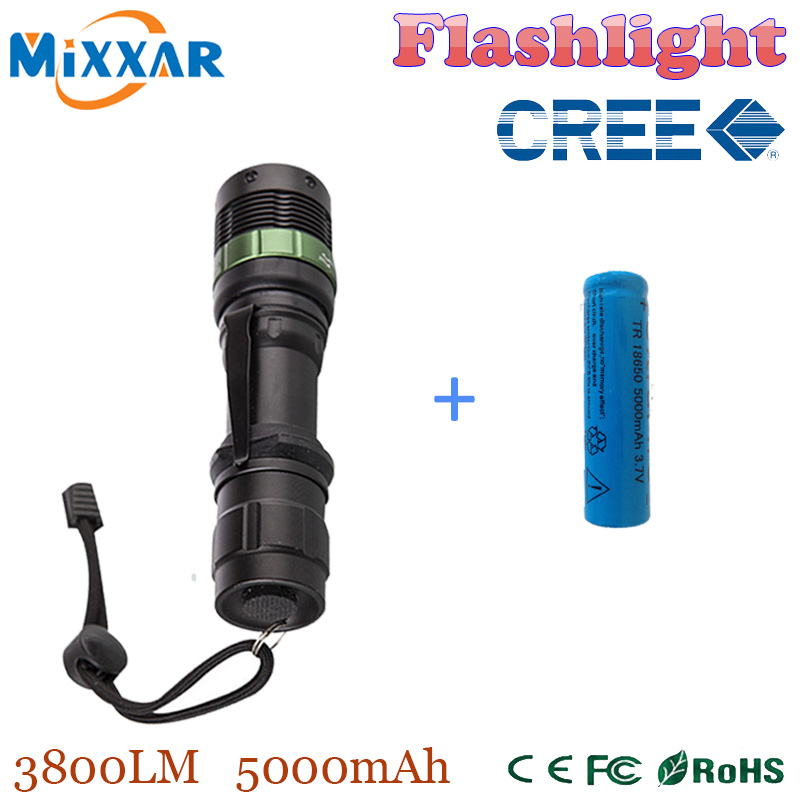 zk35 CREE XM-L 3800 Lumen Zoomable Q5 LED Flashlight Torch Zoom Lamp Light Black led torch high light with one battery(China (Mainland))