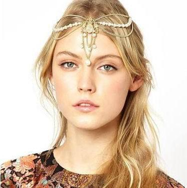 CCF419 2014 The new! Luxury Indian Pearl Tassel Hair Band The Bride Hair Hoop Hair Accessories Headband(China (Mainland))