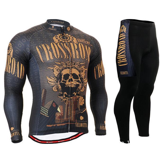 Mens Cycling Jerseys Bike Bicycle Kits Mountain Bike Long Sleeve Cycling Clothing Breathable Golden Skull Team Wear(China (Mainland))