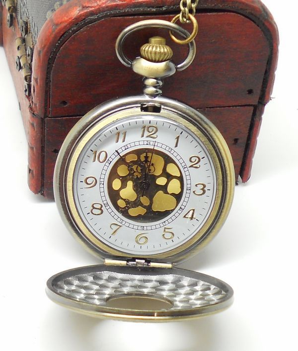 Fashion leisure The new table size side Rome double time display retro Necklace pocket watch Factory