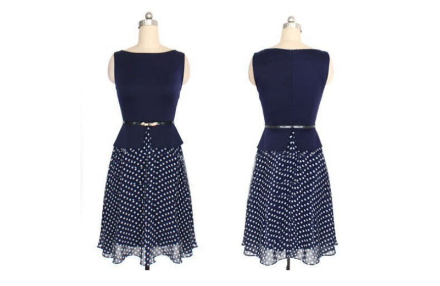 Summer Dress 2016Blue Polka Dot Dresses Garment Women Casual Dress Print Chiffon Vestidos Fashion Elegant Ladies Wear With Belt(China (Mainland))