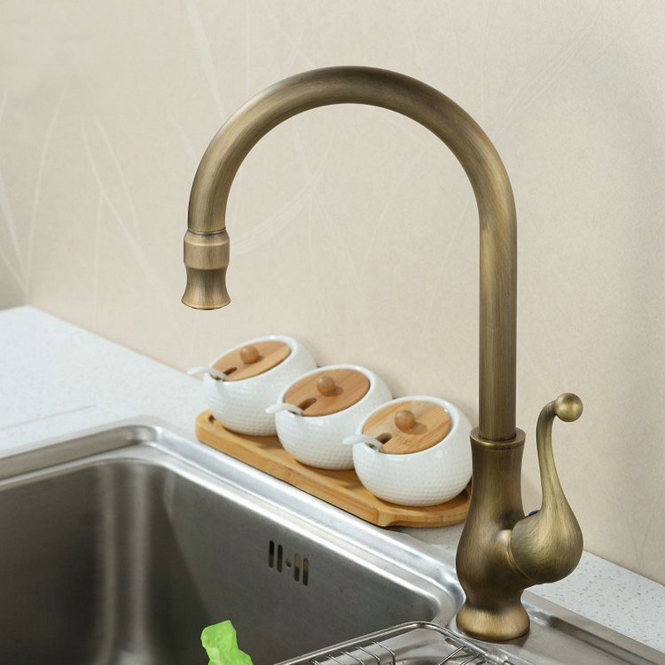 kitchen double sinks faucet antique brass finished bathroom basin sink mixer tap swivel<br><br>Aliexpress