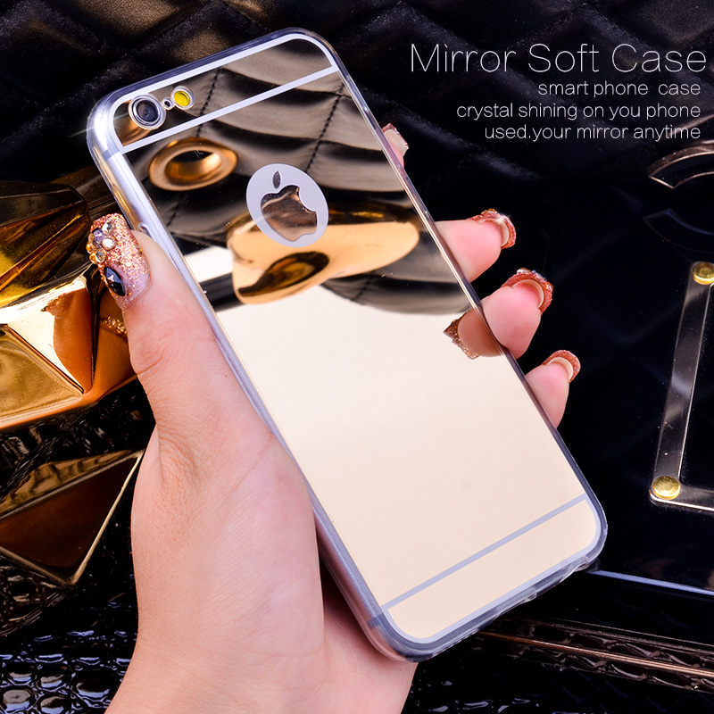 Rose Gold Luxury Bling Mirror Case For Iphone 6 6S Plus 5.5 Clear TPU Edge Ultra Slim Flexible Soft Cover For Iphone6 6S 4.7inch(China (Mainland))