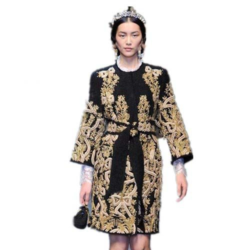 2015 Autumn Winter New Fashion Women Slim Overcoat Outerwear Embroidery Pattern Wool Long Black 4XL - QingYa fashion boutique store