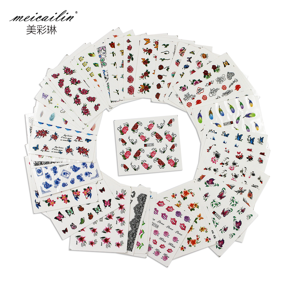 Wholesales 50sheets Watermark Nail Stickers Mixed Flower Cartoon Nails Art Water Transfer DIY Nails Tips Sticker Decals Manicure(China (Mainland))