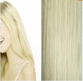 "high quality 24""7 pieces #613 140g light blonde low price 100% real human hair clips in extensions real straight full head free"