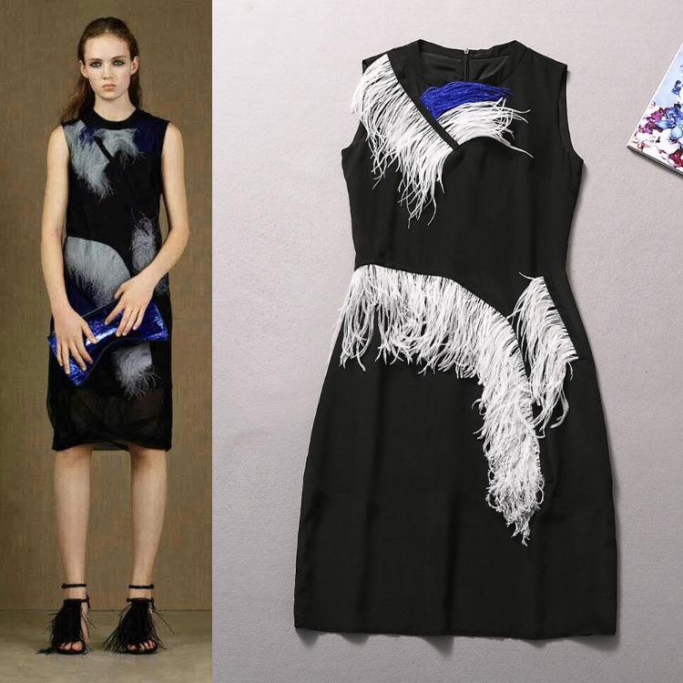women's new runway spring summer 2015 Twisted tassel sleeveless dresses - Chic Classic Store store