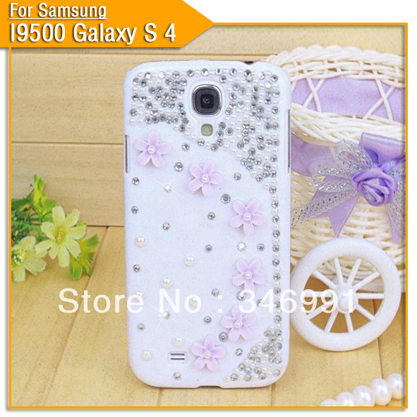 For Samsung I9500 Galaxy S4 Little flower Personalized Rhinestone phone case decoration Free shipping(China (Mainland))