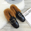 2016 Winter Square Toe Flats Women Plush Cotton Shoes Rabbit Hair Slip On Buckle Boots Fashion