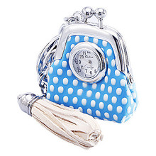 Women's and Girl's Leather Quartz Pocket Watches Analog Keychain Watch with Bag Pattern (Multi-Color)