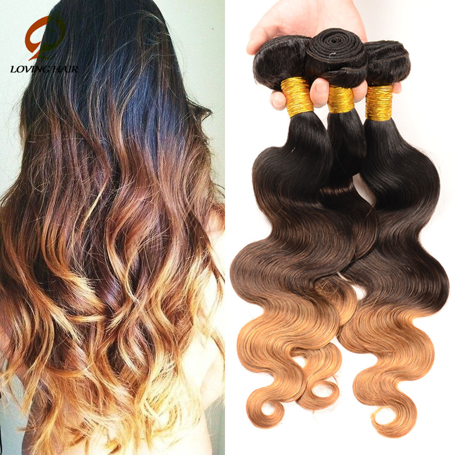 product Hot! Ombre Hair Extensions 6A Peruvian Virgin Hair Ombre Body Wave Three Tone 3-4pcs 1B #4 #27 Human Hair Queen Hair Products