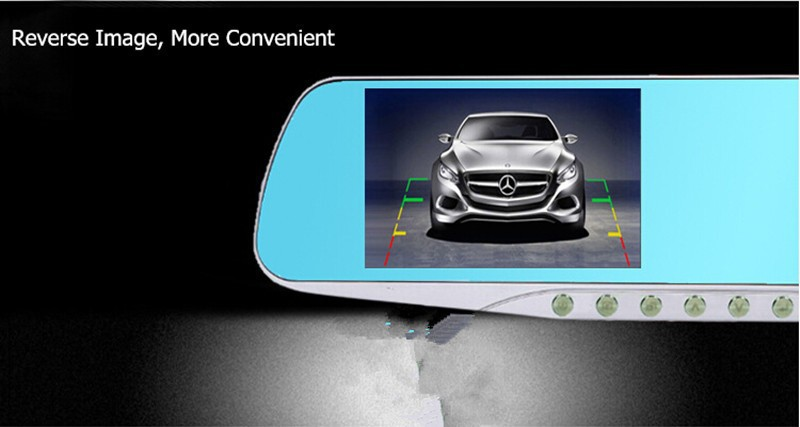 Relaxgo 4.3″ car rearview mirror dvr dual lens car dvr full hd 1080p video recorder car camera reverse image vehicle dash cam