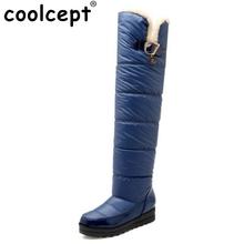 Botas de nieve de Las Mujeres Nueva Plataforma de Llegada de la Manera Mantener Caliente Piel Sobre rodilla Caliente Largo Invierno Botas Para Mujer Zapatos Tamaño 34-43(China (Mainland))