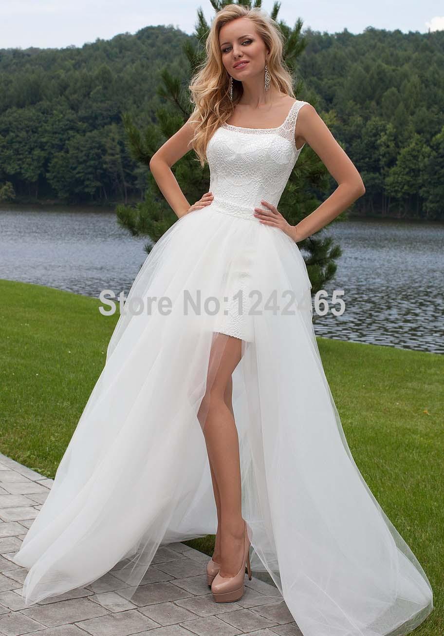 2016 best quality sheath lace square neckline high low for Detachable train wedding dresses
