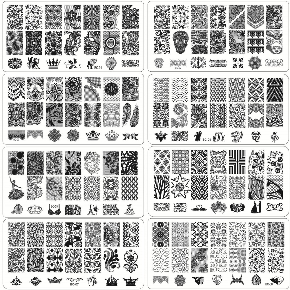 1 Sheet Lace&Flowers Series Stamping Nail Art Image Plate, 6*12cm Stainless Steel Template Polish Manicure Stencil Tools(China (Mainland))