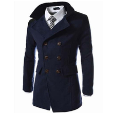 Hot Sale 2016 Trench Coat Men Tops Autumn Double Breasted Trench Coat High Quality Woolen Cloth Fabric Long Mens Trench Coat(China (Mainland))
