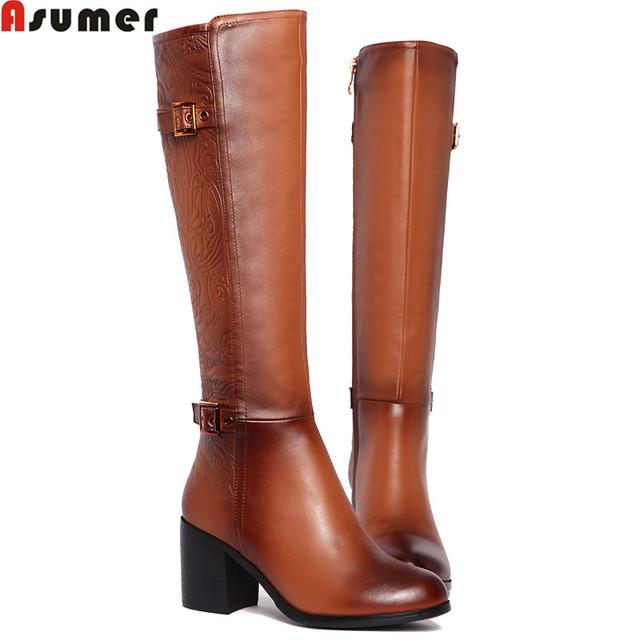 Asumer высокое качество натуральная кожаные сапоги толстые высокие каблуки пряжки ...