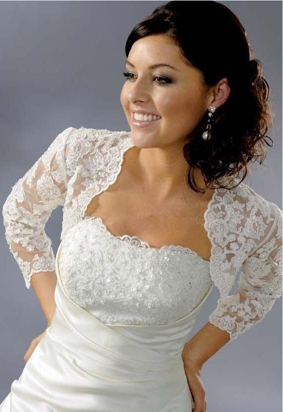 Hot Sale 3/4 Long Sleeves White Lace Bridal Jacket Wedding Shawls and Wraps Bolero Custom Made 2017 New Arrival