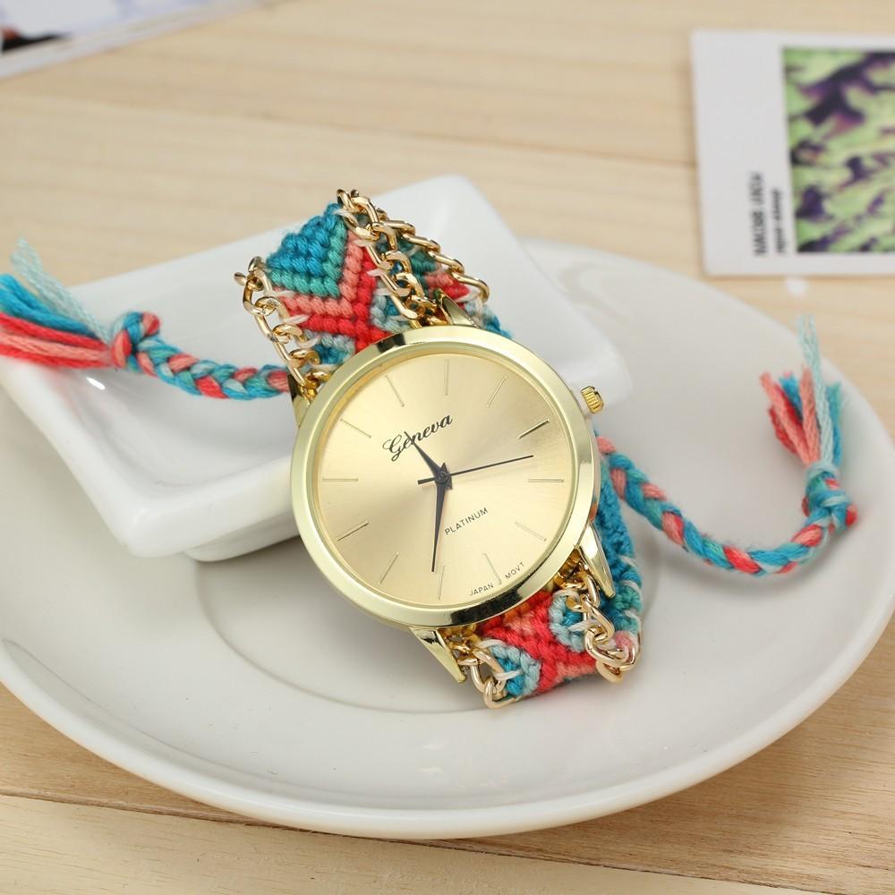 10 Colors New Brand Handmade Braided Friendship Bracelet Watch GENEVA Hand-Woven Watch Ladies Quarzt Watches reloj(China (Mainland))