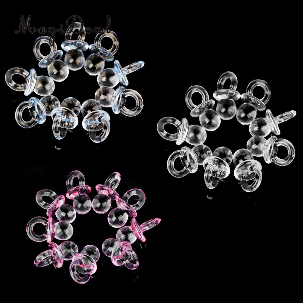 MagiDeal 50pcs/Lot Cute Mini Pacifier Charms Girl Boy Baby Shower Party Favor Nappy Cake Decor Pink