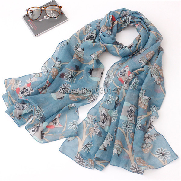 Sweet Girl 2015 new arrive 6 color 180*90cm long animal printing cotton spring owl scarf for women(China (Mainland))