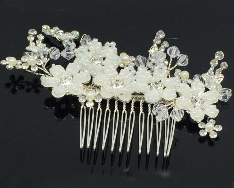 wedding romantic cream pearl braided flower with rhinstone beads hair comb bride party hair jewelry bridal hair accessories(China (Mainland))
