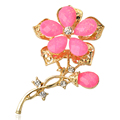2016 New Arrived Fashion Retro Sterling silver Crystal brooch Resin Flower Shape Female Brooches for women