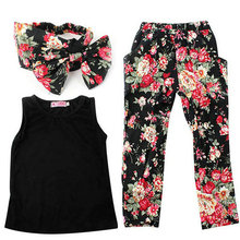 Lovely Summer Kids Girls Headband+Floral T-Shirt/Vest+Colorful Pants Outfits