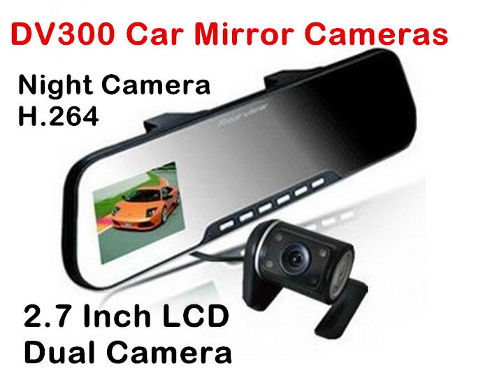 2014 Car styling DV300 Dual lens Car dvr rear view mirror Camera 2.7 inch LCD Camera Registrar Video Recorder free shipping(China (Mainland))