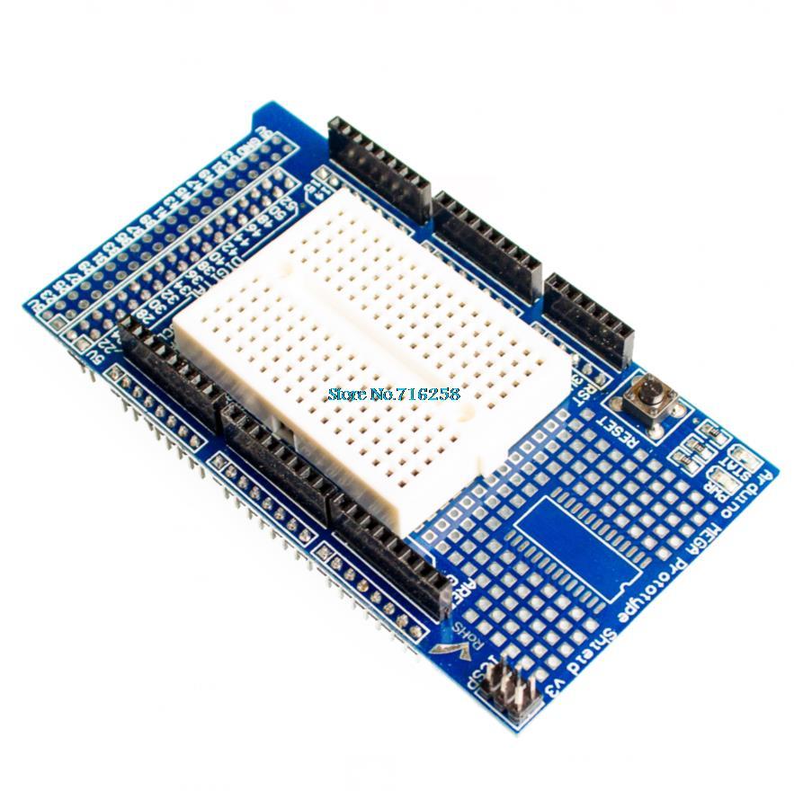 Brand New Prototype Shield Protoshield V3 Expansion Board Mini Bread Arduino MEGA Blue + White - All Electronics Trading Company store