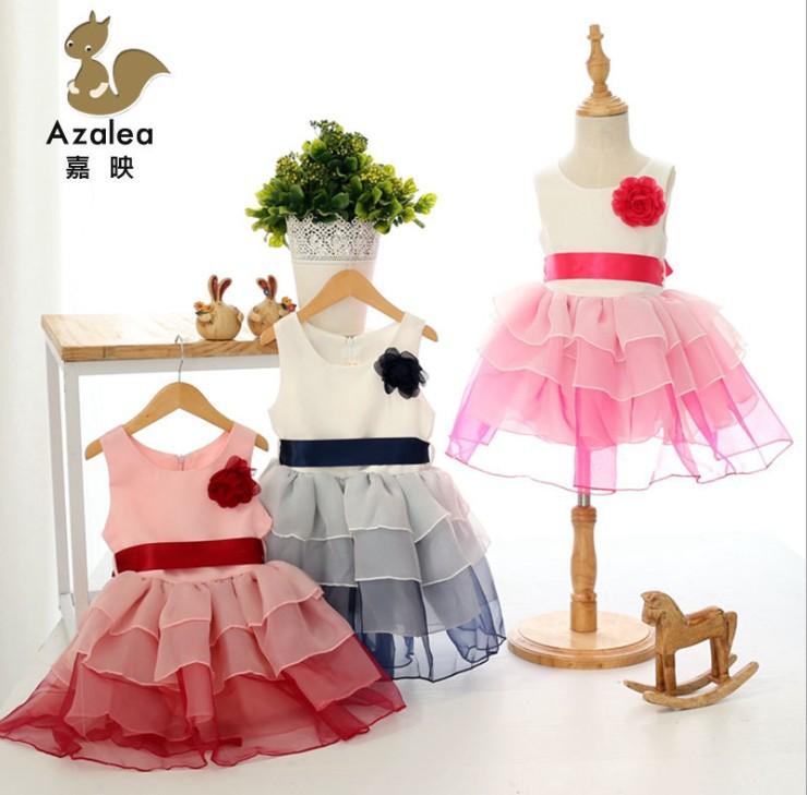 Children Girls Korean princess cake dress Fashionable gauze tutu dresses<br><br>Aliexpress