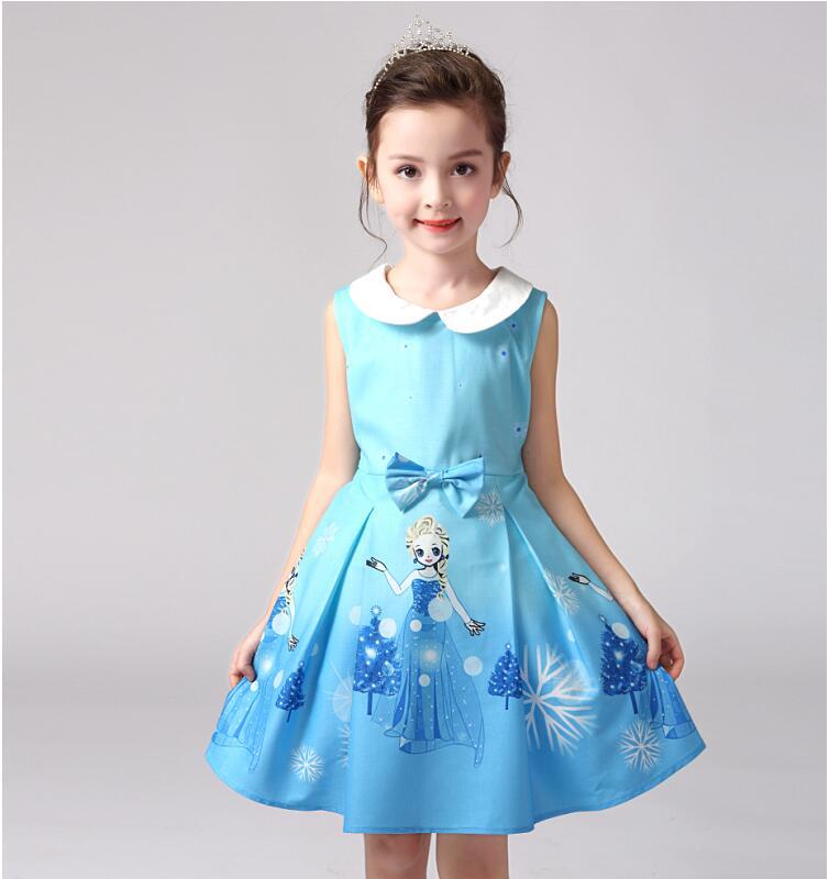 Retail 2016 brand girls dress, fashion Elegant princess dress baby girl animated cartoon elsa & anna children clothes - baby's dream world store