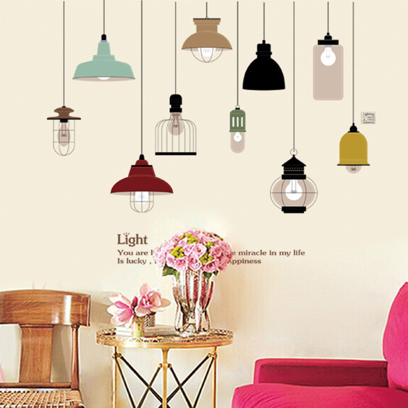 Retro hanging lamp wall sticker electric light vinyl for Dining room vintage wall art