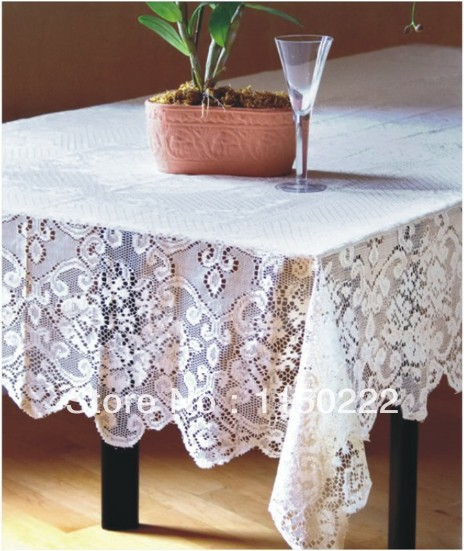 Free shipping! [1 pc] High quality White Lace Table colth 152*213cm Nappe romatic wedding tablecloth(China (Mainland))