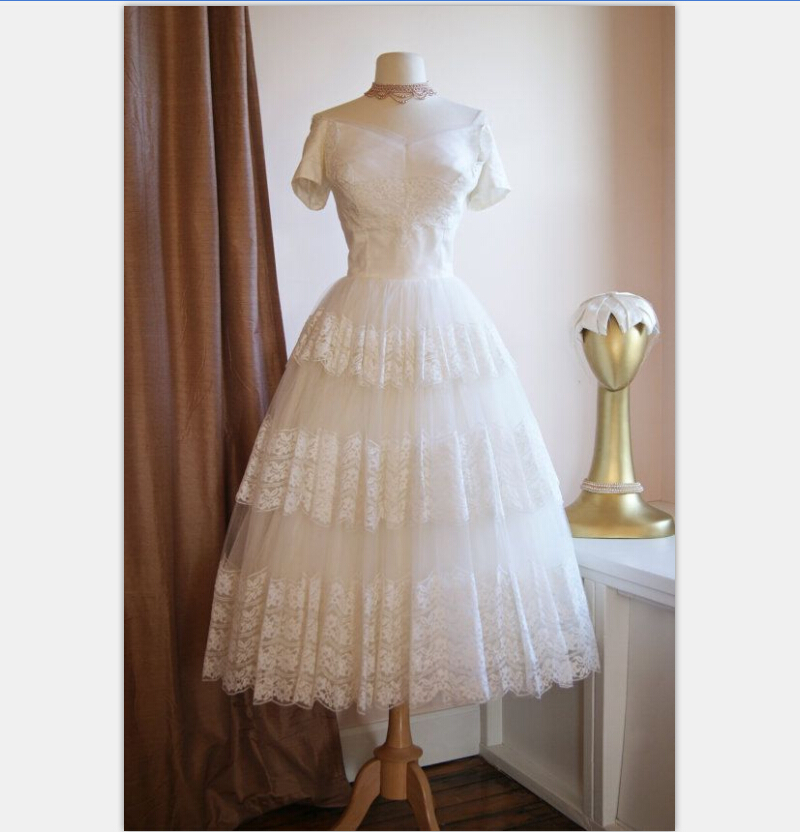 Vintage 1950s tea length short wedding dress with sleeves for Off white dresses for weddings