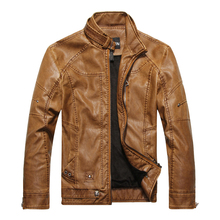 leather jacket men autumn and winter male stand collar slim PU motorcycle jacket plus velvet warm leather coat m-3XL 8822(China (Mainland))